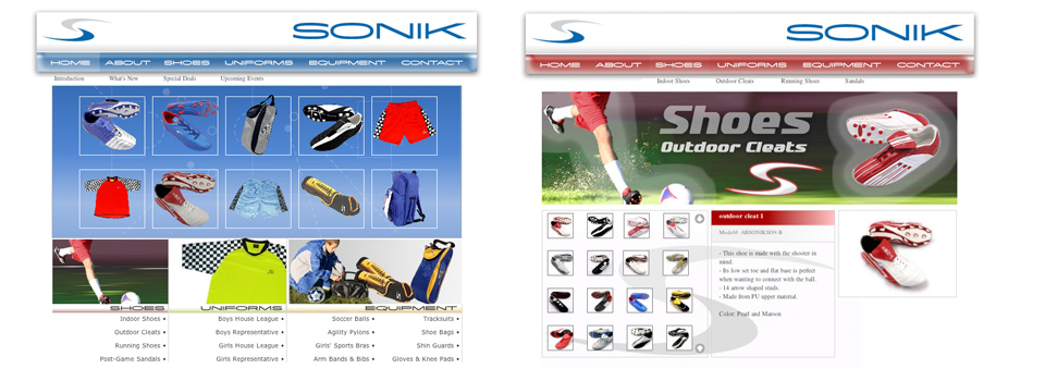 Sonik Sports Wear Website