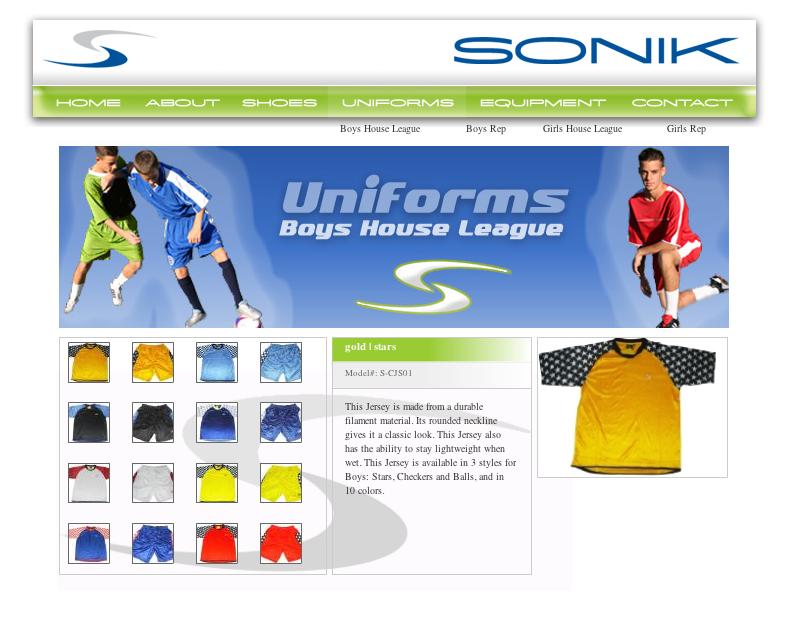 Sonik Sports Wear Website
