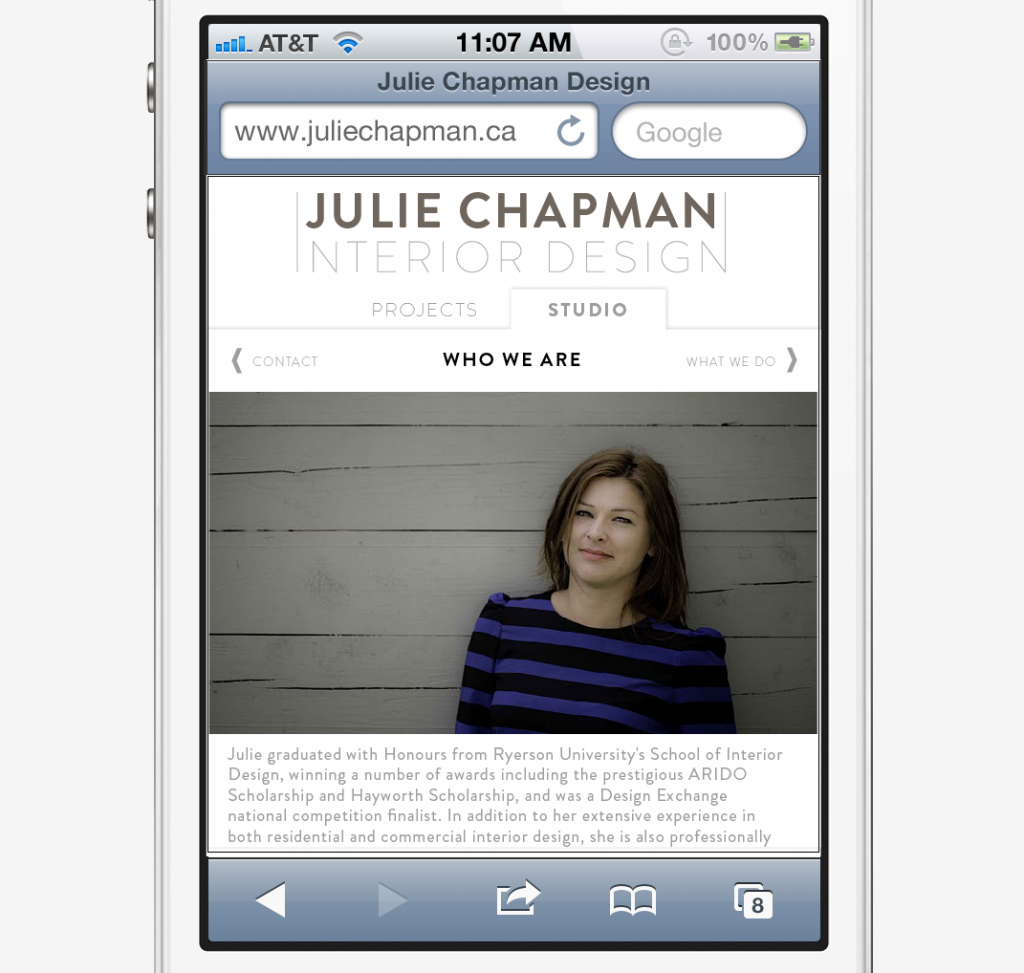 Julie Chapman Interior Design - Mobile Website